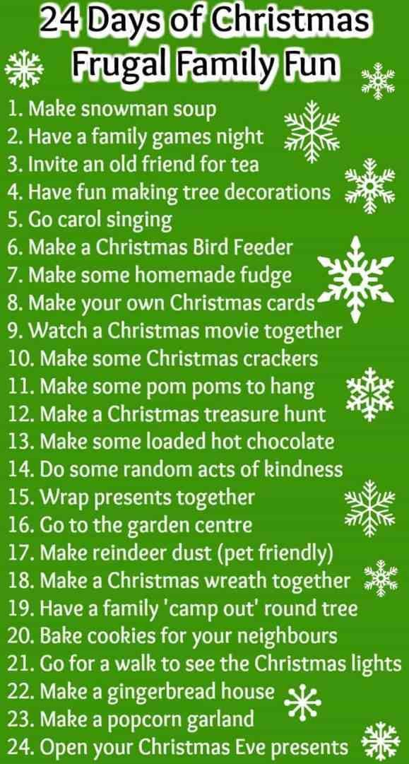 Christmas is all about spending time with your family so here's 25 things to do together along with the instructions on how to do the ones that need them.