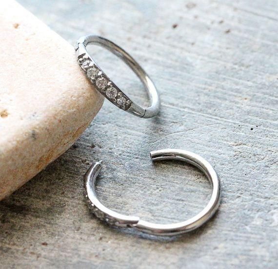 Crystal  Cartilage Clicker Hoop by Purityjewel on Etsy