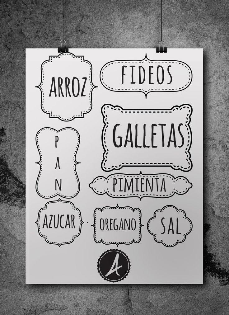 etiquetas para frascos tipo vintage en vinilo decorativo