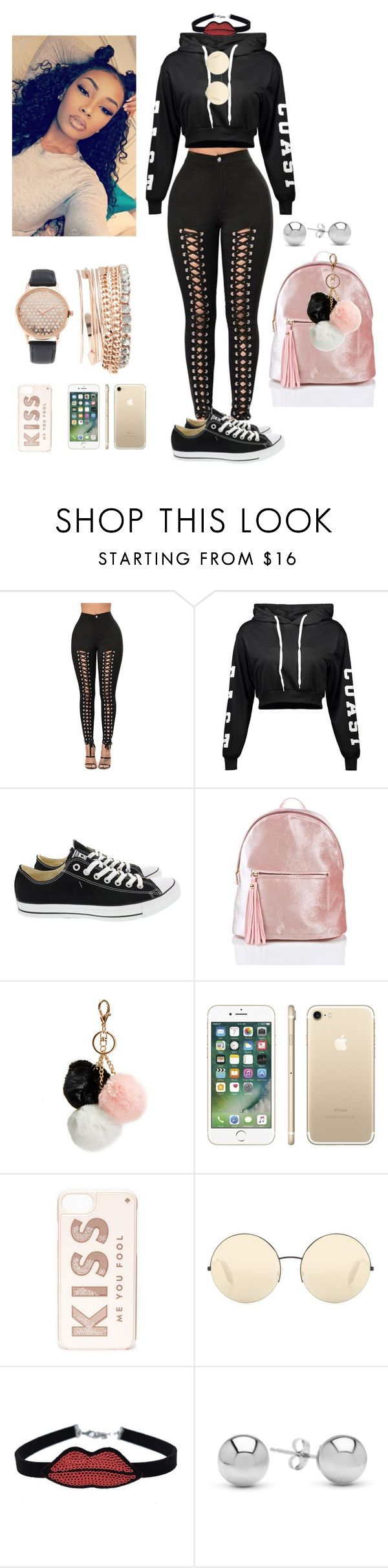 """Black Attire"" by jasiana122 on Polyvore featuring Converse, GUESS, Kate Spade, Victoria Beckham, chuu, Jewelonfire and Jessica Carlyle"