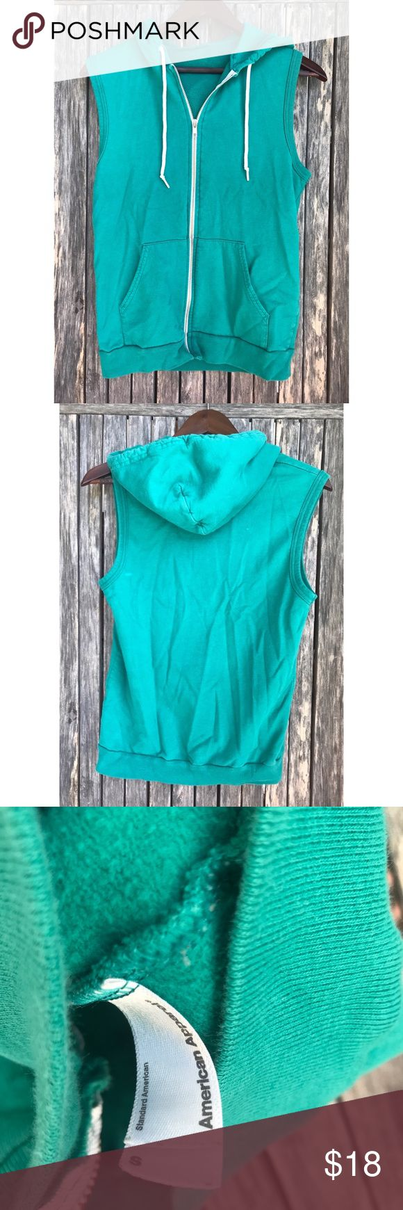 AMERICAN APPAREL Green Zip Up Hoodie Vest Small In good