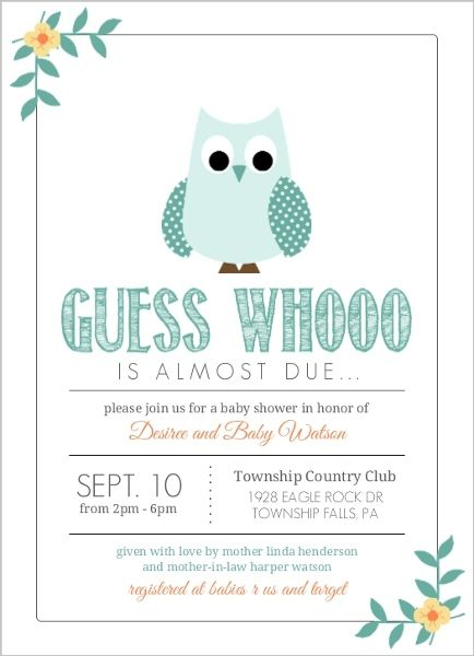 Teal Blue Owl Boy Baby Shower Invitation