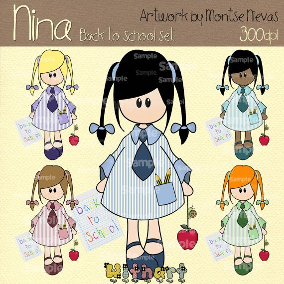 Back to school Nina dolls 0270 digital clip art set by Withart, $4.50
