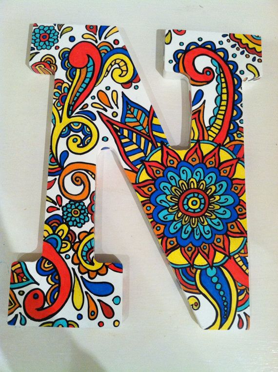 Handpainted wooden letter N by NotSoPlainJaynes on Etsy, $40.00