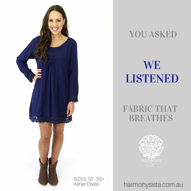 We Listen ....... Harmony Sista Asher Dress SIZES 10 - 20+ Fully lined, with ornate lace detailing, this stunning dress is so comfortable. With generous allowance for bust & hips, the Asher dress glides on & drapes effortlessly. Wear as a tunic with white leggins/jeans for a fresh summer vibe, or as a dress. www.harmonysista.com.au