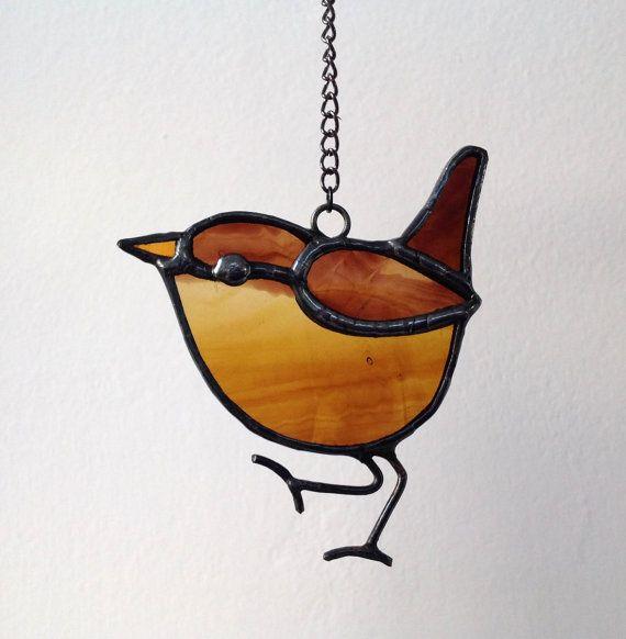 Gebrandschilderd glas vogel Wren zon Catcher