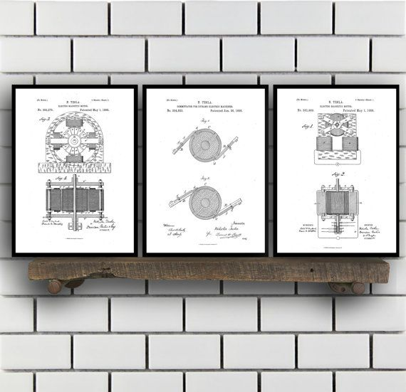 Tesla Patent Set of THREE, Tesla Electrical Transmitter Patent, Tesla Poster, Tesla Transmitter Print, Tesla Patent, Tesla Inventions, SP113 by STANLEYprintHOUSE  7.50 USD  All of the posters are printed using high quality archival inks, and will be of museum quality. Any of these posters will make a great affordable gift, or tie any room together.  Please choose between different sizes and colors.  These posters are shipped in mailing tubes via USPS Fi ..  https://www.etsy.com/ca/..
