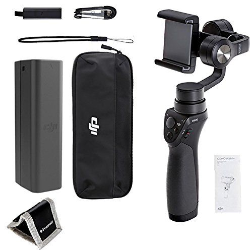 RITZ CAMERA BUNDLE With all Manufacturer-supplied Accessories + Full USA Warranties INCLUDING: DJI Phone Camera Gimbal OSMO MOBILE, Black Polaroid Memory Card Wallet