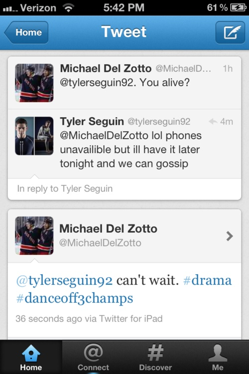 too adorable! Can Tyler Seguin please come back to twitter soon? I miss him on twitter!