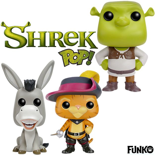 Bonecos Funko Pop! Shrek, Burro Falante e Gato de Botas