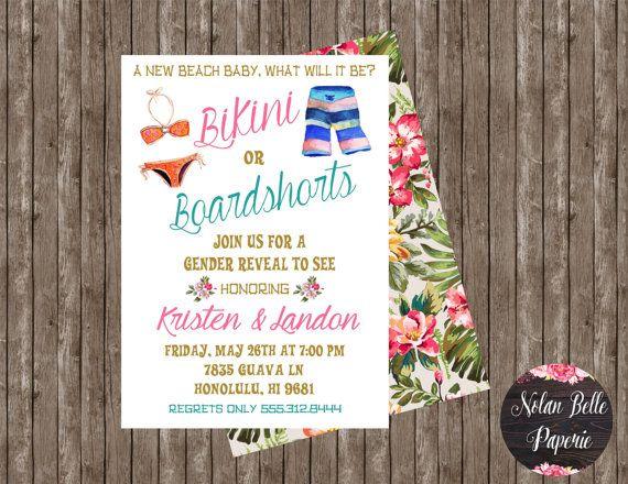 Gender Reveal Invitation Beach Tropical by NolanBellePaperie