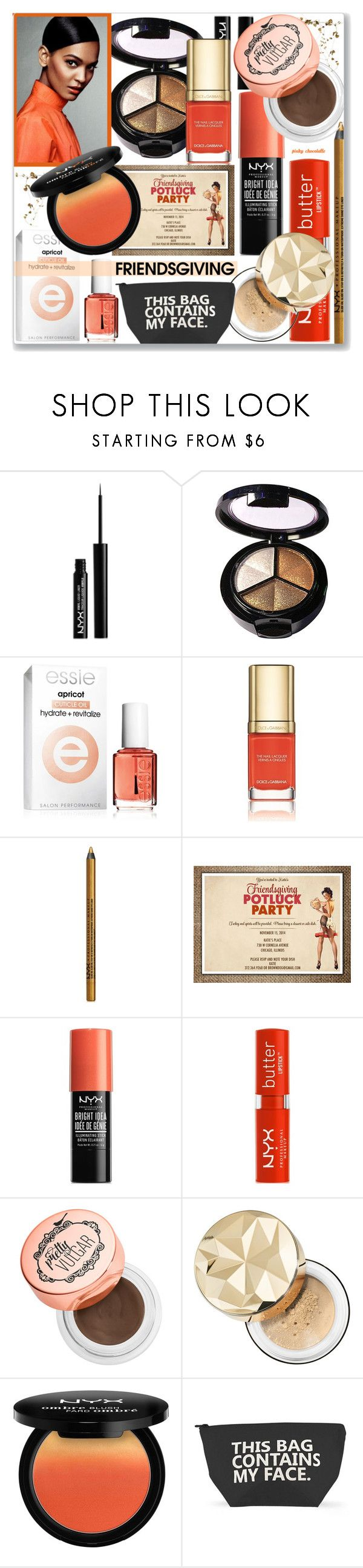 """""""Gather 'Round - Friendsgiving: 22/11/17"""" by pinky-chocolatte ❤ liked on Polyvore featuring beauty, NYX, My Makeup Brush Set, Essie, Dolce&Gabbana, Sephora Collection and Forever 21"""