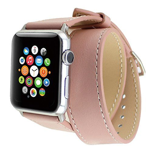 Apple Watch Band, Wearlizer Genuine Leather Watch Strap Replacement w/ Metal Clasp for Apple Watch all Models Double Tour Design - 38mm Pink Wearlizer