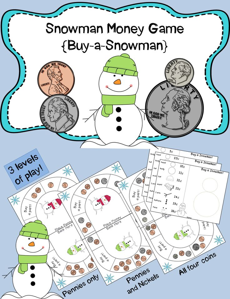 """Snowman Money Game! {Buy-a-Snowman!} This game board is a fun way for your students to practice counting money! Players earn money on the board and then use the money to """"buy"""" parts for their snowman. Three levels of play (pennies only, nickels and pennies or all 4 basic coins). Great for math centers!  $"""