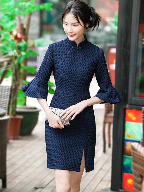 Blue Kit Bell Sleeve Qipao / Cheongsam Dress for Winter