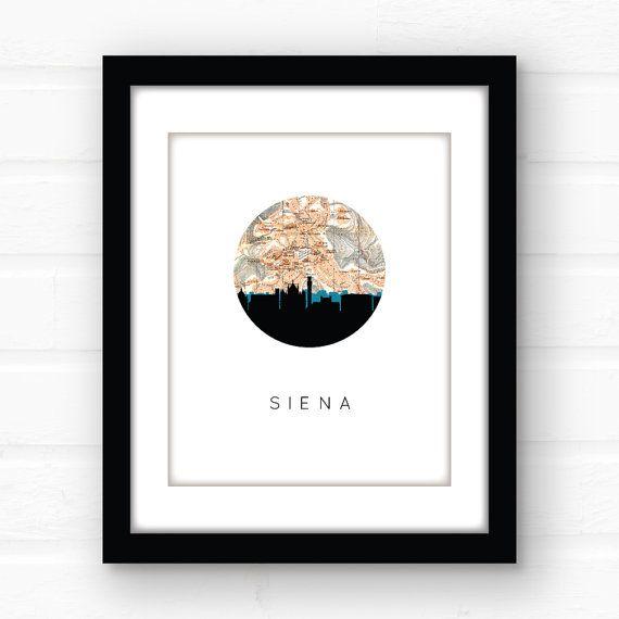 Siena Italy map art Italy print Italy wall by PaperFinchDesign
