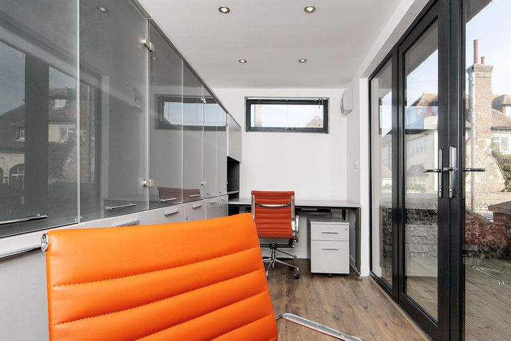 Eastbourne Garden office fully fitted interior.