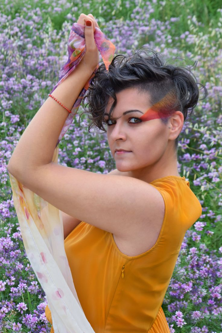 Shooting in a purple flowers field - geometric makeup - fashion inspired