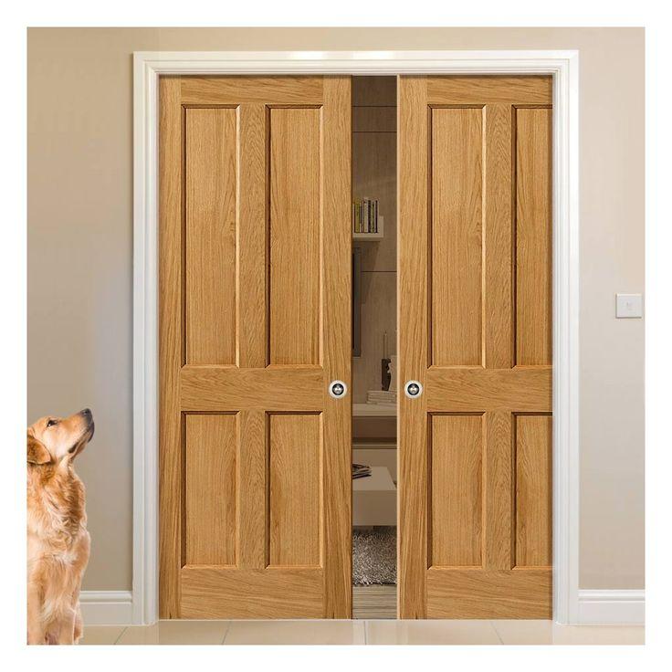 Double Pocket River Oak Derwent 4 Panel sliding door system in three size widths. # & 56 best Panelled Pocket Door Pairs images on Pinterest | Pocket ...