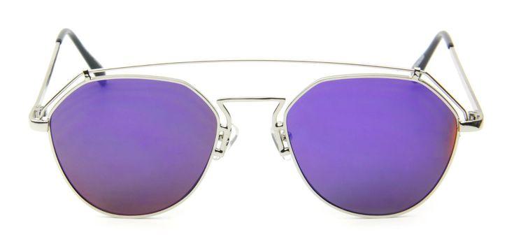 Purple Mirror Futuristic Sunglasses Metal Aviator Retro Designer Men Women Style