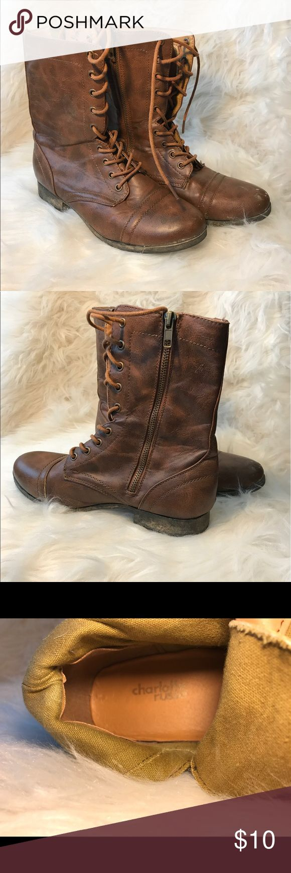 CHARLOTTE RUSSE COMBAT BOOTS SIZE 8 Size 8! Super cute and comfy. Very versatile! Bought from Charlotte Russe! I never wear them anymore. Good/worn condition. Charlotte Russe Shoes Combat & Moto Boots