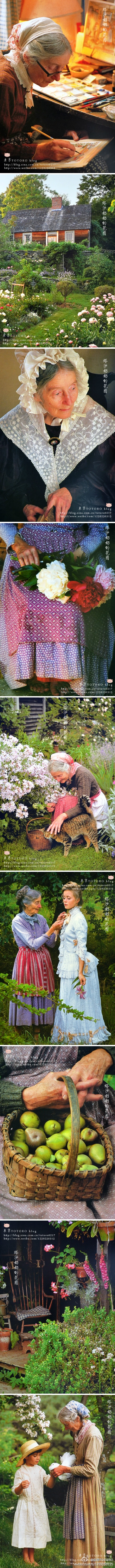 """""""Garden Tasha Grandmother"""". I think that's so lovely. It's a nice webpages about the illustrator Tasha Tudor who is, sort of, the American Beatrix Potter. ]"""