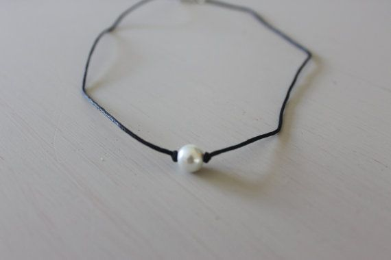 One Pearl Choker Necklace  White Pearl on by EricksonHandyworks