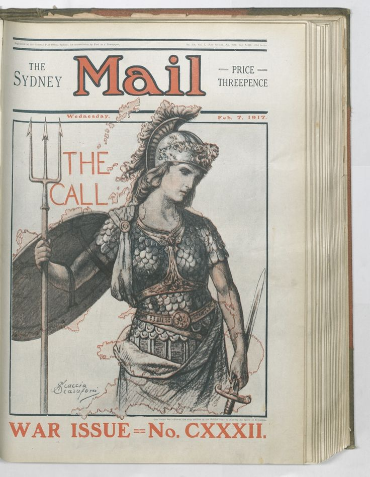 'The Call'. Scaccia Scarafoni's front cover of the Sydney Mail, 7 February 1917. To order a fine art print of this image, please call the Library Shop on 61 2 9273 1611, quoting digital order number a9609132. http://acms.sl.nsw.gov.au/album/albumView.aspx?itemID=1064155&acmsid=0, image no. 132.