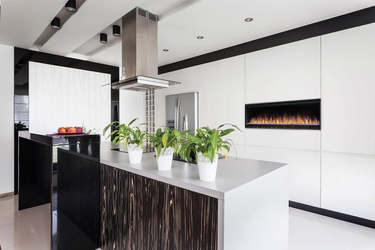 Napoleon's Alluravision™ Series linear electric fireplaces Can be fully recessed into the wall for a flush appearance or easily hang on the wall with a built-in bracket