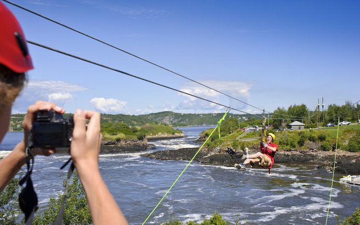 Zip-line high above the Reversing Rapids in Saint John