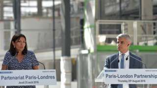 Image copyright                  Aurelien Meunier             Image caption                                      Mayor of Paris Anne Hidalgo and Sadiq Khan, the mayor of London, announce the Paris-London Business Welcome Program                               The mayors of...