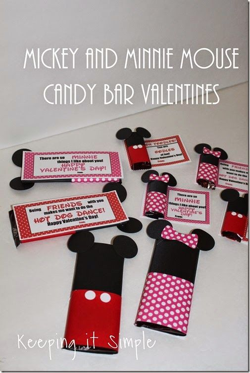 Mickey Mouse and Minnie Mouse Candy Bar Homemade Valentines with Free Printable #DIYValentine @keepingitsimple