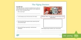 The Flying Doctors: 20 Dollars Activity Sheet - The Flying Doctors, medical, RFDS, The Royal Flying Doctors, aeromedical,Australia, worksheet