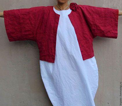 Купить или заказать Льняной жакет - кимоно в интернет-магазине на Ярмарке Мастеров. Льняной жакет - кимоно Возможны другие цвета:…