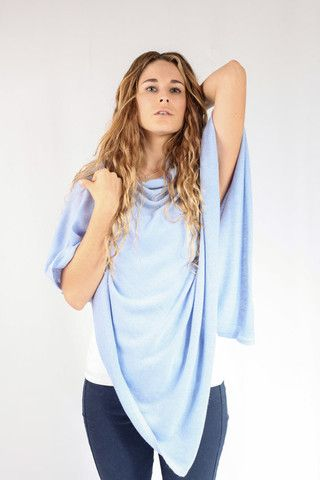 Baby Blue Cashmere Poncho for sale in South Africa – Pebble&Jack