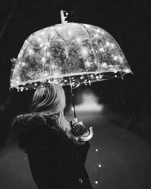 clear umbrella and lights? yes please