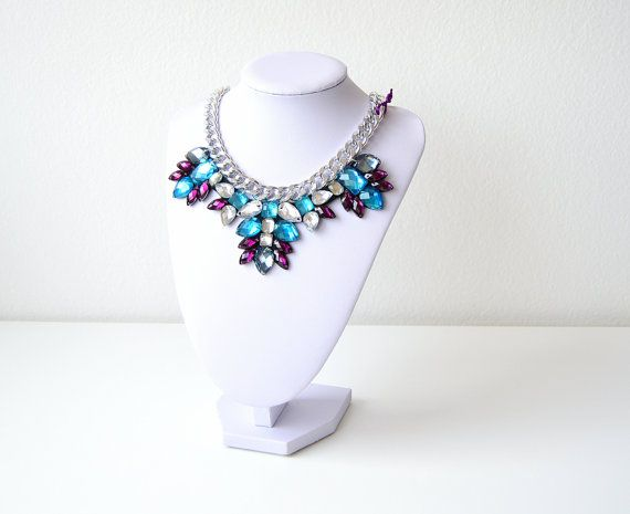 Silver Purple Turquoise Rhinestone Gem Crystal by GemsOver on Etsy