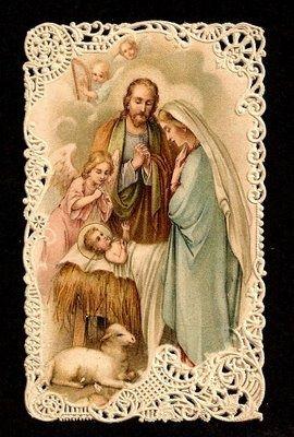 Heilige Familie met engel en schaap