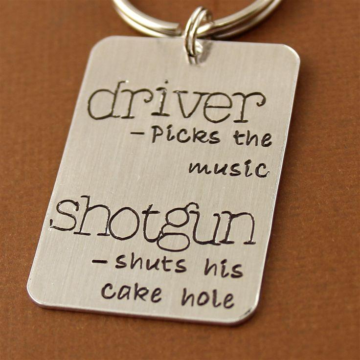 Driver Picks the Music, Shotgun shuts his cake hole Key Chain - Spiffing Jewelry - Supernatural