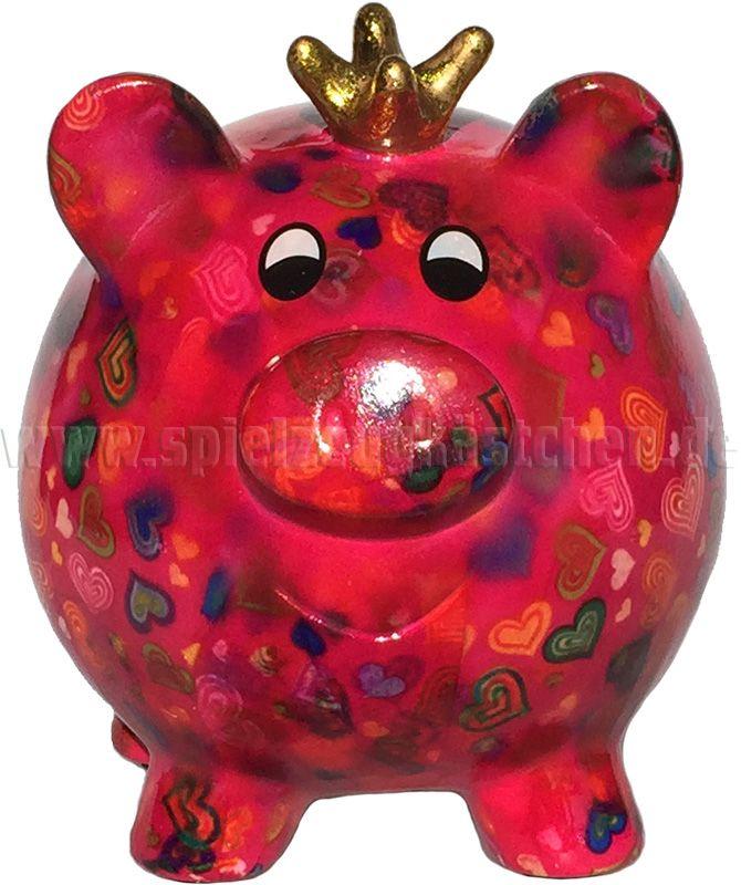 """Pomme Pidou Sparbüchse PIG """"PEGGY"""" pink mit Herzmuster   – Schweinchen"""