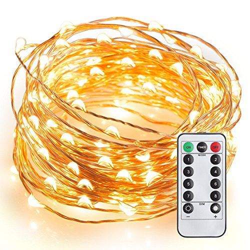 LeMorcy Waterproof String Lights, 8 Modes 33ft 100LED Cop…