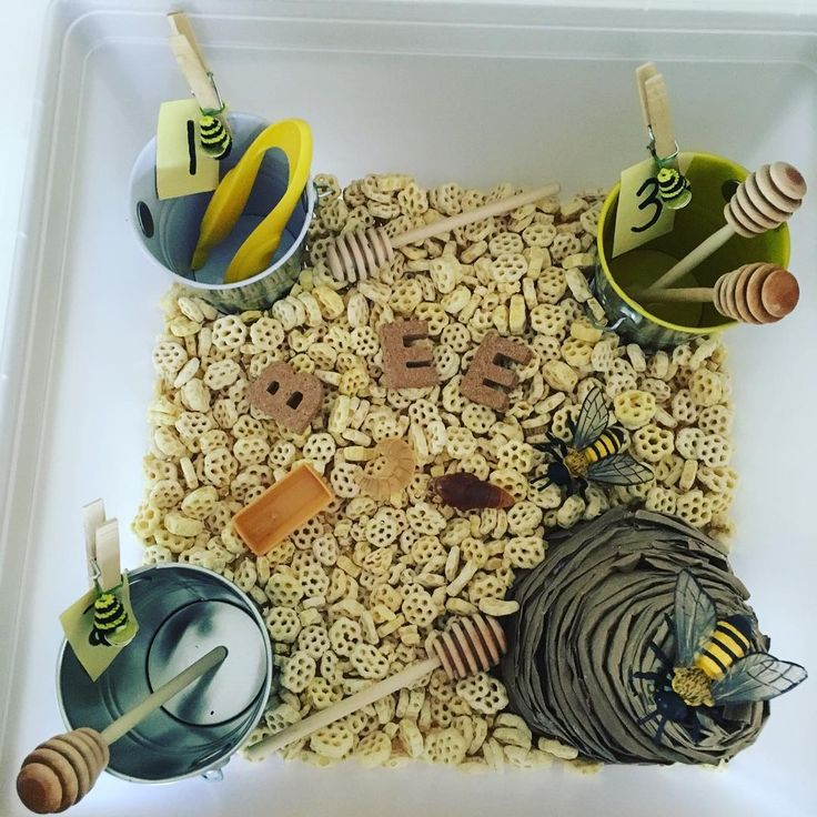 Bee Sensory Bin (from Teaching J & G on Instagram: https://www.instagram.com/p/BFo227kEpgE/)