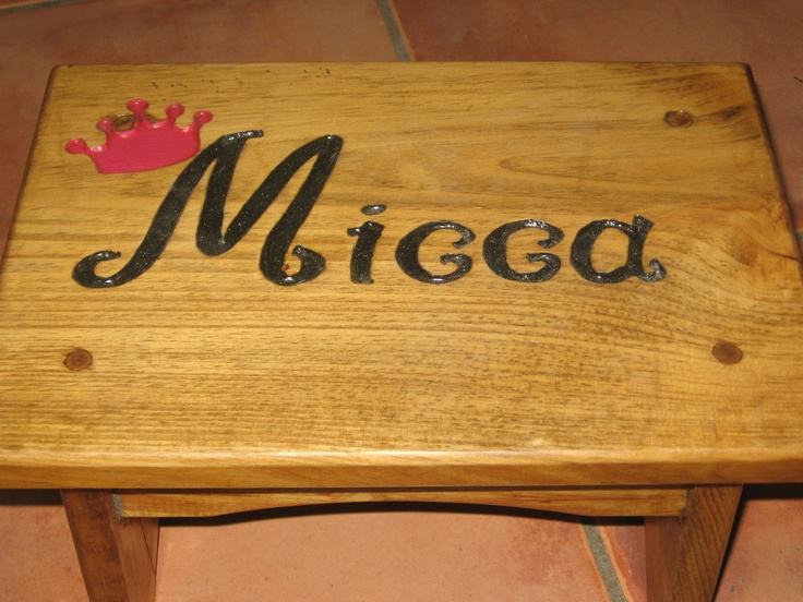 Engraved A Stepstool By Making A Stencil And Carving Out