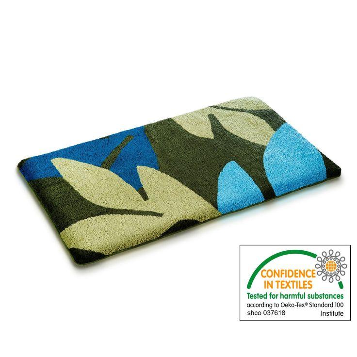 """casa pura Bath Mat - Bath Rug Sarah - Soft Pile, Non-Slip, Teal & Green Leaf Print - 24"""" x 40"""" - 6 sizes"""