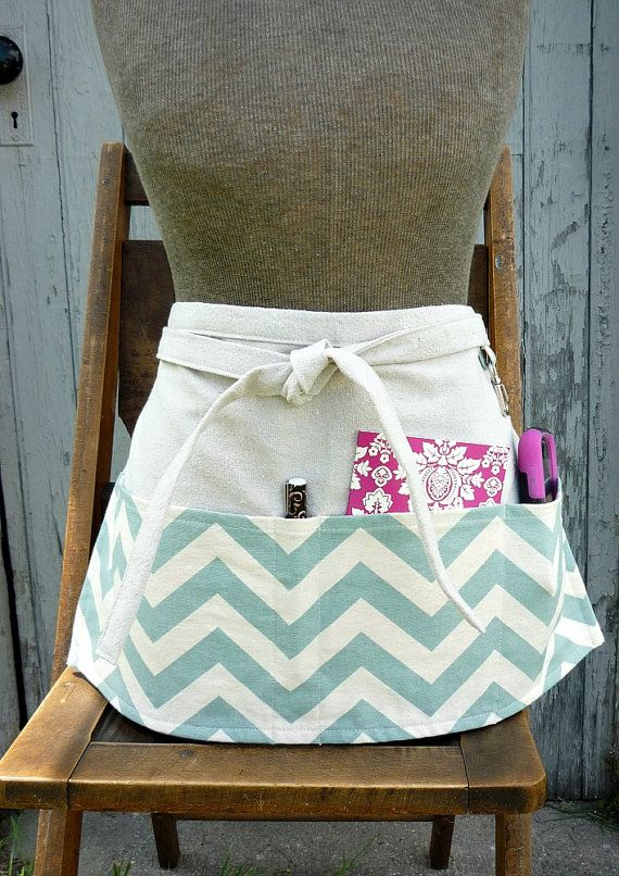 Blue Chevron Half Apron Waitress Apron by greenwillowpond on Etsy