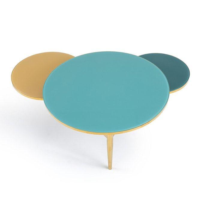 table basse 3 plateaux verre trempe