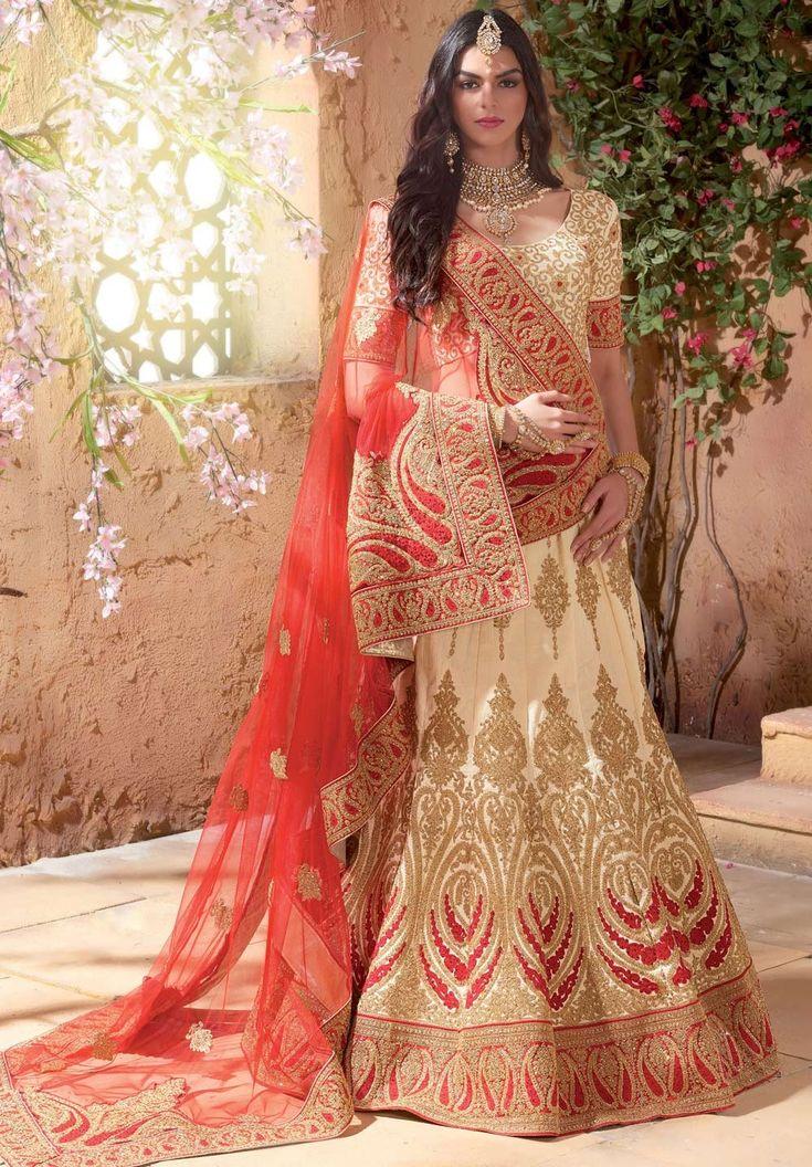 Beige embroidered bridal wear Indian Punjabi lehenga choli C16236