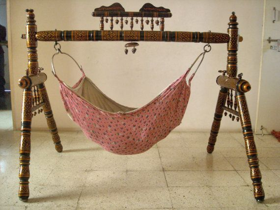 Indian style OLD Wooden BABY SWING Indian by IndianGujaratMirror