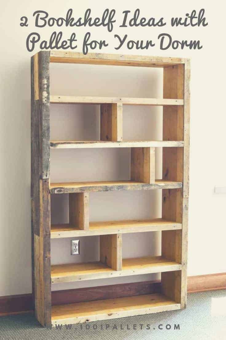 2 Bookshelf Ideas With Pallet For Your Dorm 1001 Pallets Pallet Bookshelf Pallet Furniture Designs Pallet Furniture