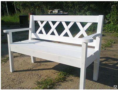 Скамейка садовая белая 120 см деревянная .